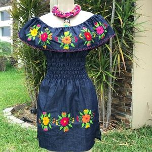 Mexican Denim Embroidered Mini Dress Off-Shoulder